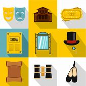 Concert Icons Set. Flat Illustration Of 9 Concert Icons For Web poster