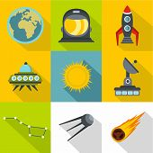 Galaxy Icons Set. Flat Illustration Of 9 Galaxy Icons For Web poster
