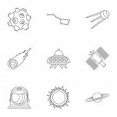 Universe Icons Set. Outline Illustration Of 9 Universe Icons For Web poster