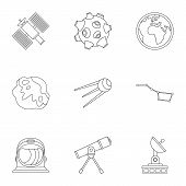 Galaxy Icons Set. Outline Illustration Of 9 Galaxy Icons For Web poster