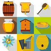 Honey Production Icons Set. Flat Illustration Of 9 Honey Production Icons For Web poster
