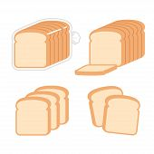 Sliced White Sandwich Bread Illustration Set. Toast Slices And Loaf In Bag. Simple Modern Flat Vecto poster