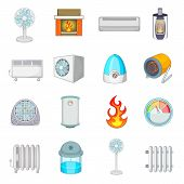 Heating Cooling Icons Set. Cartoon Illustration Of 16 Heating Cooling Icons For Web poster