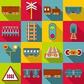 Railroad Station Items Icons Set. Flat Illustration Of 16 Railroad Station Items Icons For Web poster