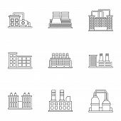 Production Icons Set. Outline Illustration Of 9 Production Icons For Web poster