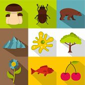 Flora And Fauna Icons Set. Flat Illustration Of 9 Flora And Fauna Icons For Web poster