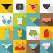 Underwear Items Icons Set. Flat Illustration Of 16 Underwear Items Icons For Web poster