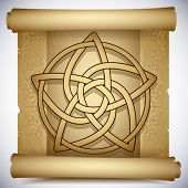 foto of wicca  - Vintage background with Celtic ornaments and pentacle - JPG