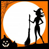 Halloween card with the witch