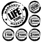 Vector advertising natural looking stamp (label, sign) for 1, 2, 3, 5, 25 and a lifetime warranty pr