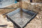 Foundation Construction Building Site Making Reinforcement Metal Framework For Pouring Concrete. Met poster