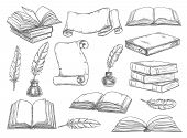 Old Vintage Books, Retro Ink Quill Pens And Manuscripts Sketch Icons. Vector Isolated Set Vintage Bo poster