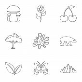 Flora Icons Set. Outline Illustration Of 9 Flora Icons For Web poster
