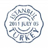 Colored Grungy Postal Stamp From Turkey City Istanbul. Isolated Vector Illustration. poster