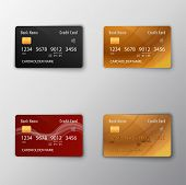 Realistic Detailed Credit Cards Set With Colorful Abstract Design Background. Golden Credit Card. Bl poster