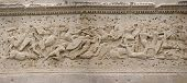 stock photo of gaul  - Frieze sculpture of Roman battle against the Gauls Arch of Triumph Orange France - JPG