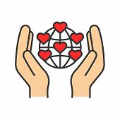 International Charity Color Icon. Hands Holding Planet With Heart Points. Earth Saving. Global Volun poster