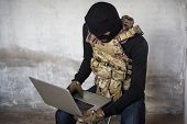Terrorist Man Cyber Hacker Hacking Internet To Access Steal Information poster
