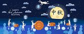 Mid-autumn Festival, Moon Cake Festival, Hares Are Happy Holidays In The Moonlit Night, Moon Cakes,  poster