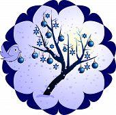winter tree with blue bird