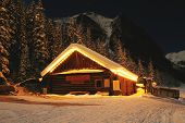 Winter Cabin On Lake Louise