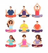 Meditation People. Woman And Man Meditating In Group In Yoga Or Pilates Class. Isolated Characters V poster