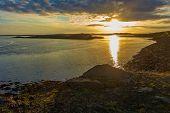 Midnight Sun Golden Hour At Harbor Of Borgarnes, Iceland poster