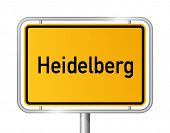City limit sign HEIDELBERG against white background - federal state of Baden Wuerttemberg - vector illustration