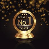 We Are Number 1 Golden Trophy Award On Shiny Star And Dark Background poster