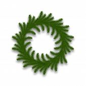 Christmas Wreath Isolated. Realistic Christmas Decoration Made Of Fir Tree Branches poster