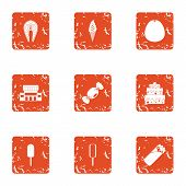 Dessert Dish Icons Set. Grunge Set Of 9 Dessert Dish Icons For Web Isolated On White Background poster