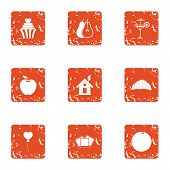 Home Romance Icons Set. Grunge Set Of 9 Home Romance Icons For Web Isolated On White Background poster