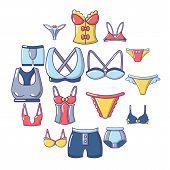 Underwear Types Icons Set. Cartoon Illustration Of 16 Underwear Types Icons For Web poster