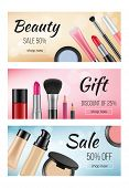 Banners Of Cosmetics. Design Template Of Horizontal Banners With Illustrations Of Women Cosmetics. V poster
