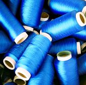 Rolls Of Blue Colored Yarn
