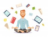 Business Yoga Concept. Office Zen Relax Concentration At Workspace Table Yoga Practice Vector Illust poster