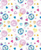 image of peace-sign  - Love and Peace seamless wallpaper - JPG