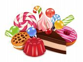 Dessert Illustrations. Background With Homemade Cakes, Chocolate Candy Lollipop And Sweets. Vector H poster