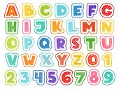 Cartoon Alphabet. Cute Colored Letters Numbers Signs And Symbols For School Kids And Childrens Vecto poster