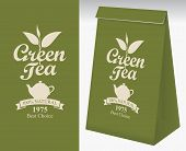 Paper Packaging With A Label For Green Tea. Vector Label For Green Tea With A Pattern Twig Tea And A poster