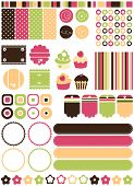 Retro stylized Tags, banners, backgrounds & elements, vector.