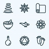 Spiritual Icons Line Style Set With Spa Stones, Ornament, Oil Bottle And Other Ornament Elements. Is poster