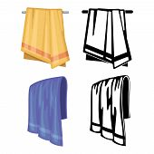 Set Of Towels - Cartoon Style And Outline Towels Isolated On White Background. Vector Illustration poster
