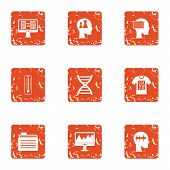 Survey Icons Set. Grunge Set Of 9 Survey Icons For Web Isolated On White Background poster