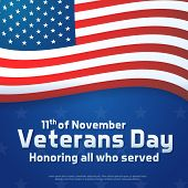 Background Banner For Veterans Day, Usa Celebration. Vector Design Honoring All Who Served. Happy Ve poster