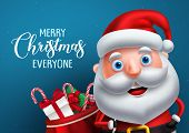 Santa Claus Vector Character And Merry Christmas Greeting In A Blue Background Banner. Santa Claus C poster