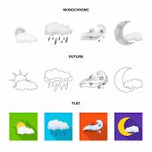 Vector Illustration Of Weather And Weather Sign. Set Of Weather And Application Stock Symbol For Web poster