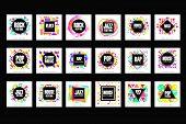 Music Festival Logo Set, Classic, House, Pop, Rap, Jazz Music Design Element Vector Illustrations poster