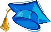 stock photo of graduation cap  - Vector Illustration of a Blue Graduation Cap - JPG