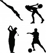 Sillhouettes of 4 Sports People. Swimming, Tennis, Golf, Soccer.